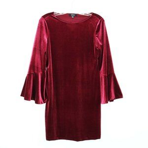 Isaac Mizrahi Burgundy Velvet Flair Sleeved Dress